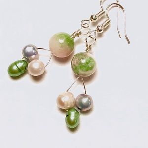 Green Multicolor Freshwater Pearl & Glass Earrings